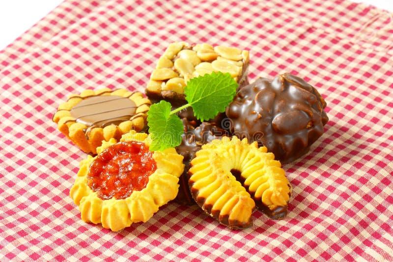 Variedade de cookies de manteiga imagens de stock