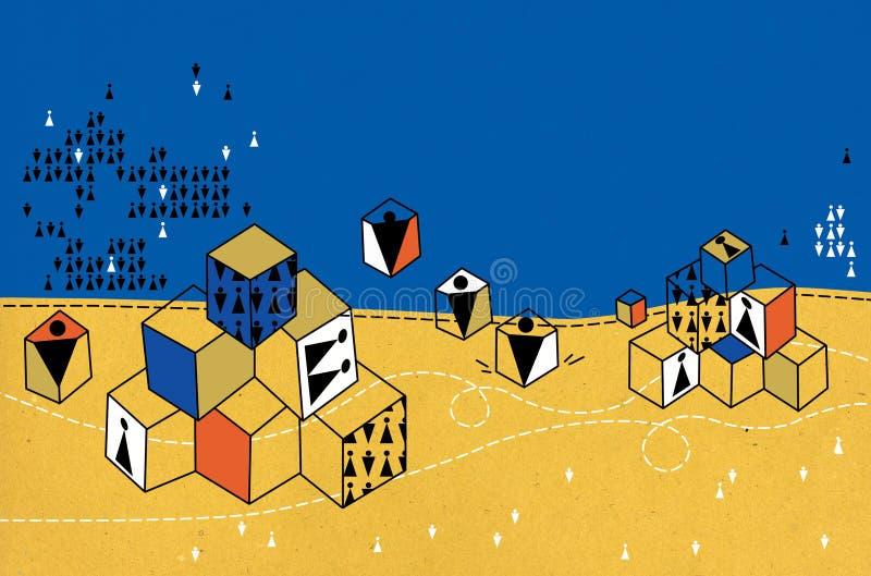 Variedade de cubos do brinquedo com imagens dos símbolos dos povos no espaço Céu e areia ilustração stock