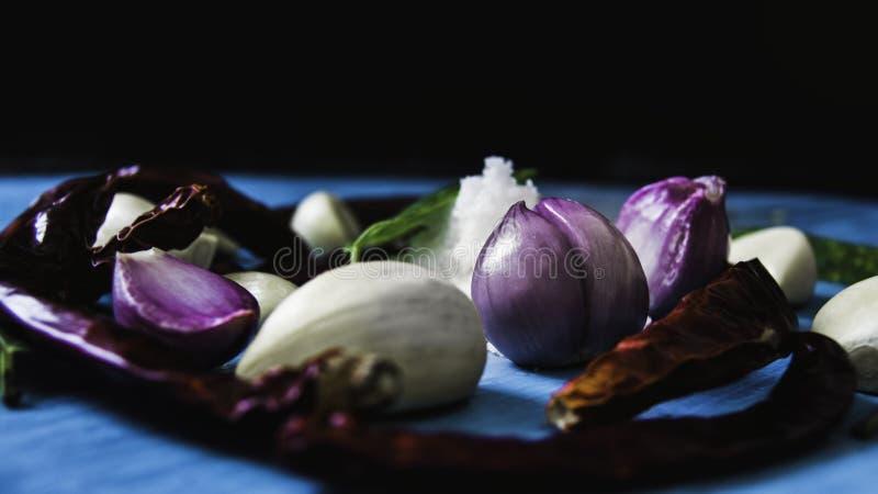 A variedade de ervas e de especiarias frescas coloridas misturou ervas, cebolas, alho, piment?o e pimenta no fundo de madeira azu imagem de stock royalty free