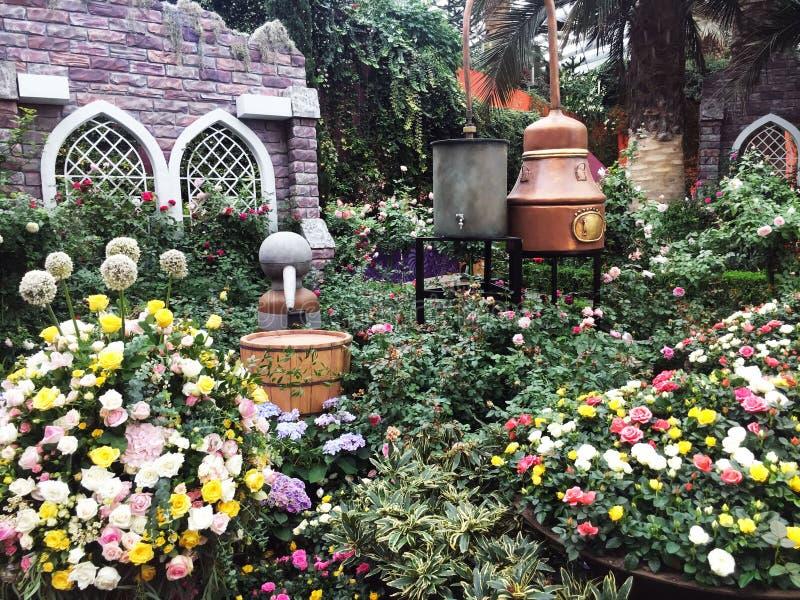 Variedade de flores, de folhas e de árvores coloridas em um jardim alastrando fora de uma casa em um dia ensolarado fotografia de stock royalty free