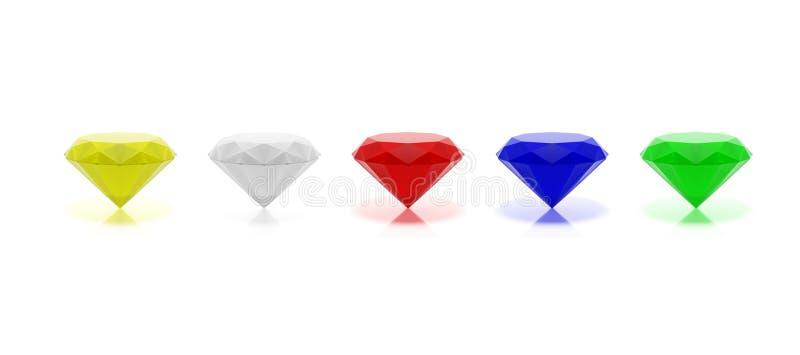 Variedade de gemas coloridas no fundo branco ilustração 3D ilustração royalty free