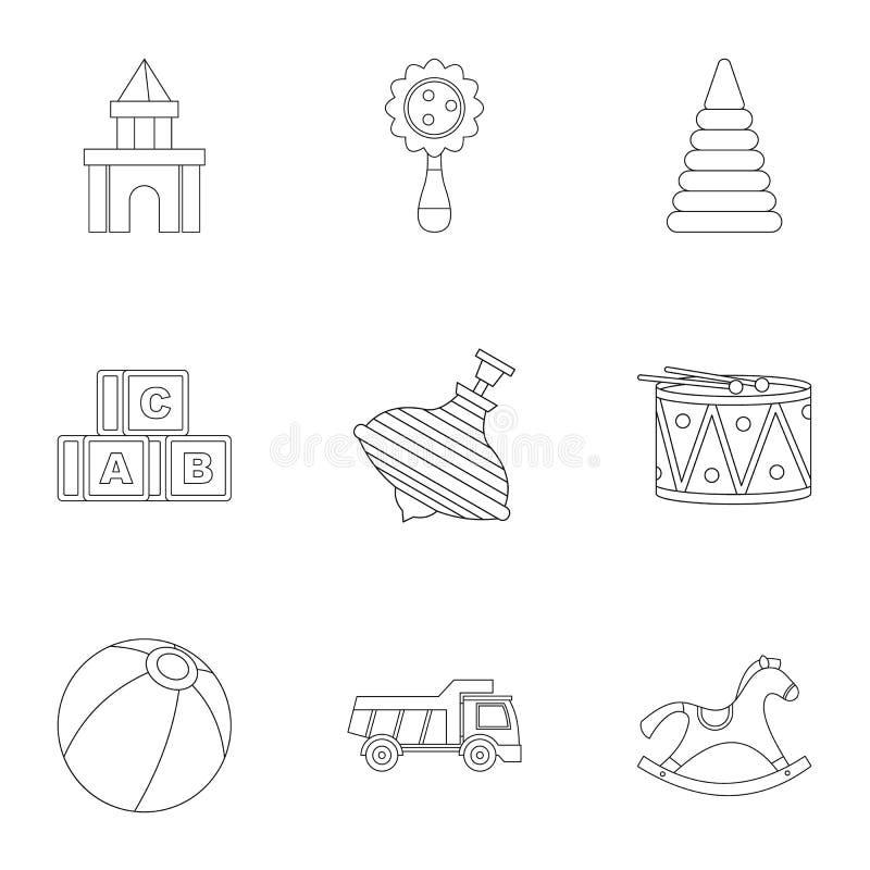 Variedade de grupo do ícone dos brinquedos das crianças, estilo do esboço ilustração stock