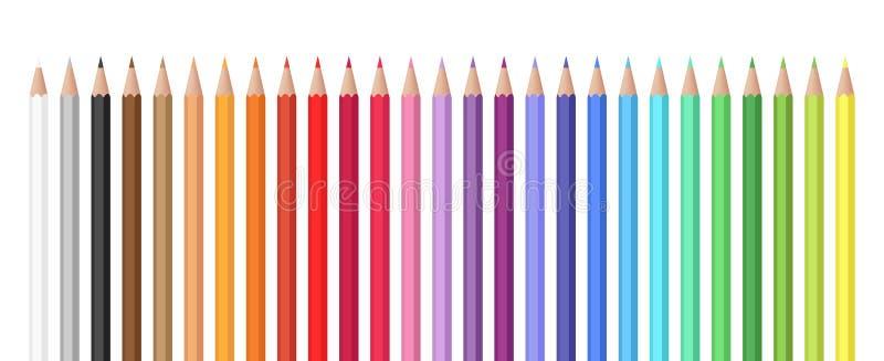 Variedade de grupo do vetor das cores de lápis coloridos ilustração do vetor