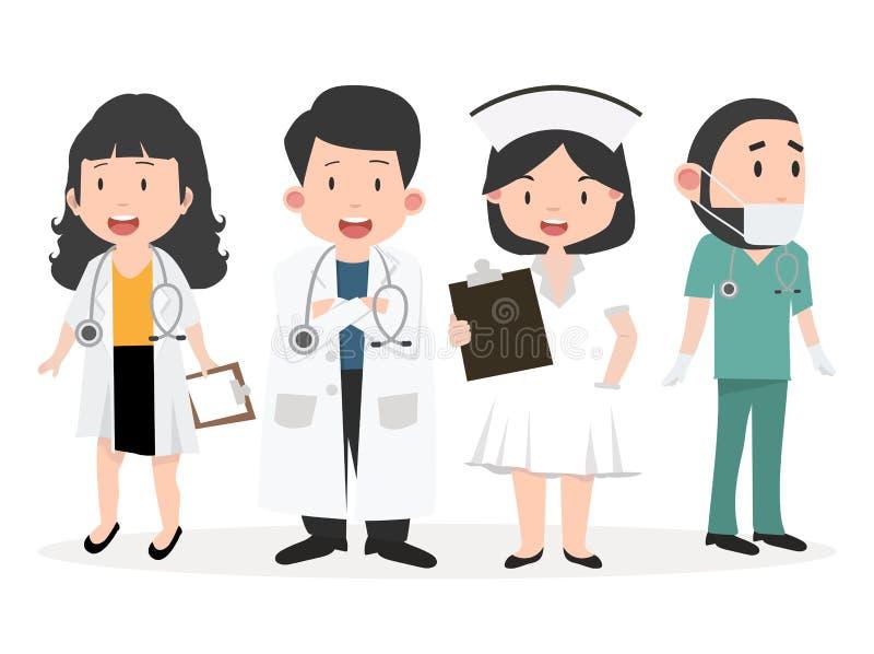 Variedade de grupo dos desenhos animados do doutor ilustração royalty free