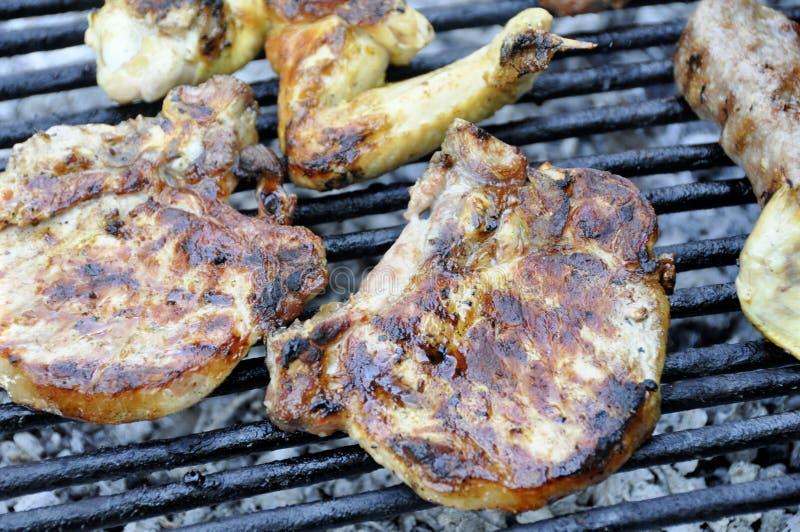 Variedade deliciosa de carne na grade do assado com carvão do carvão animal Gril imagem de stock