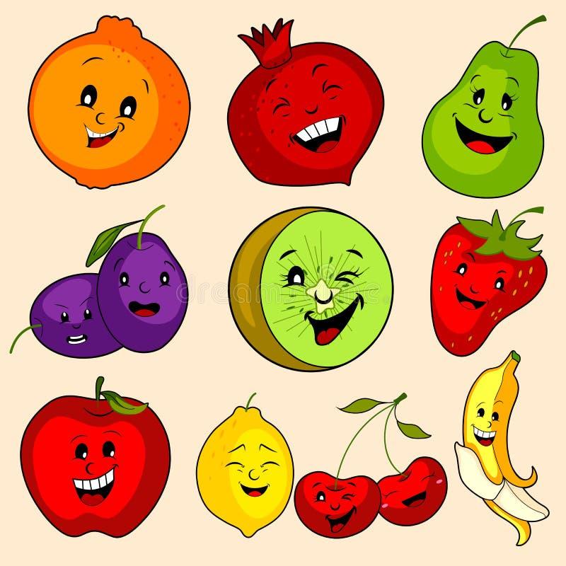 Variedade diferente de fruto fresco no fundo isolado ilustração royalty free