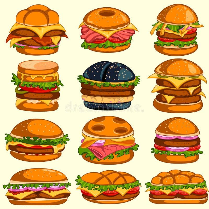 Variedade diferente de hamburguer delicioso ilustração stock