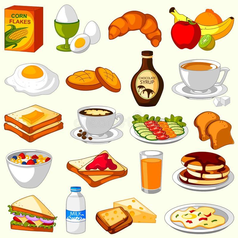 Variedade diferente de menu do alimento do café da manhã ilustração royalty free