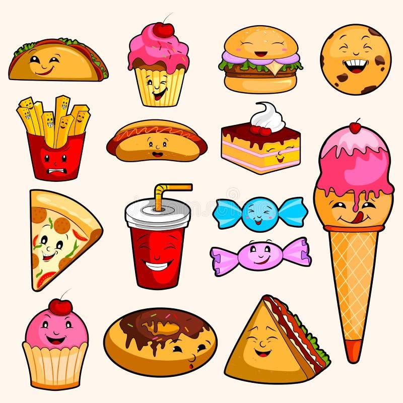 Variedade diferente de objeto do fast food ilustração do vetor