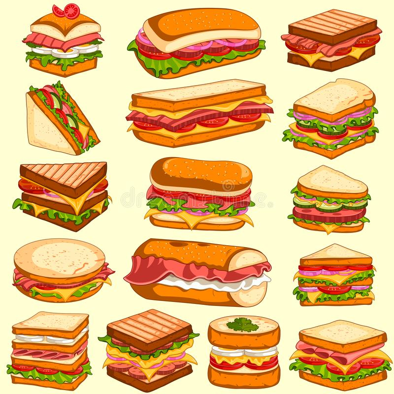 Variedade diferente de sanduíches frescos e saborosos e de hamburgueres ilustração royalty free