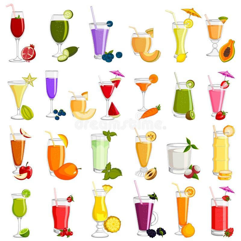Variedade diferente de vidro da bebida da bebida do suco de fruto fresco ilustração stock