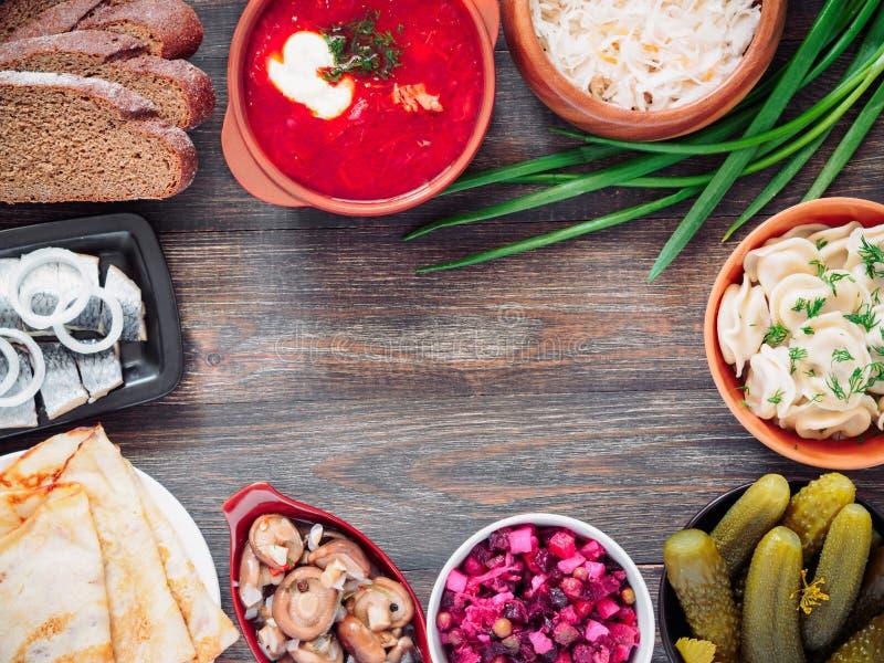 Variedade do alimento do russo fotografia de stock