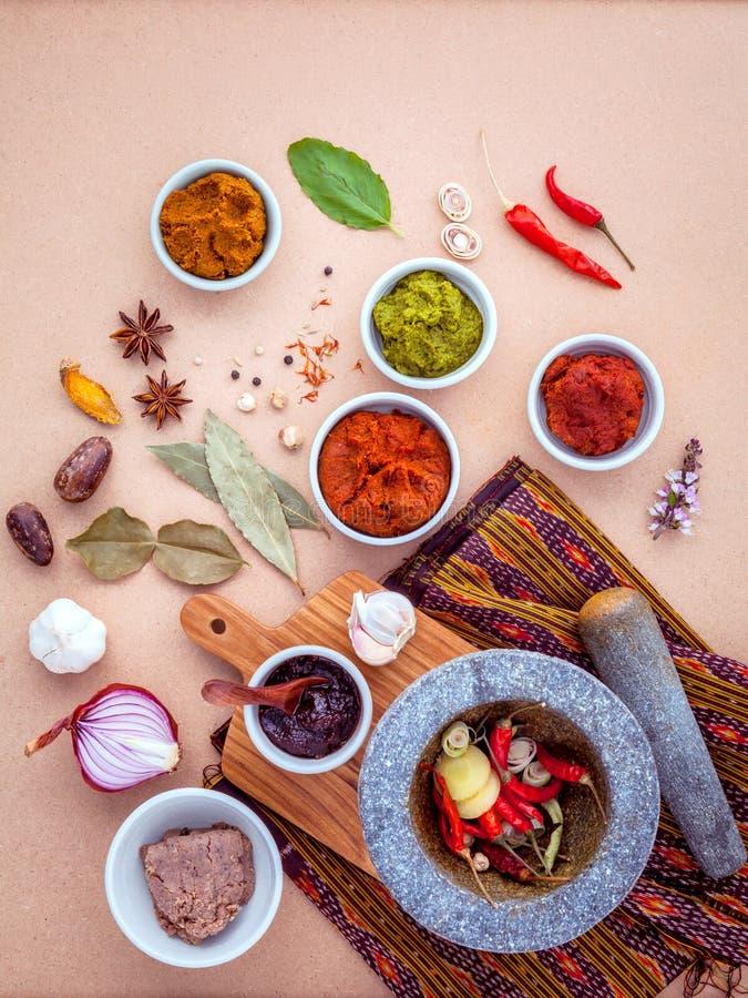Variedade do alimento tailandês que cozinha ingredientes e pasta do po tailandês fotos de stock