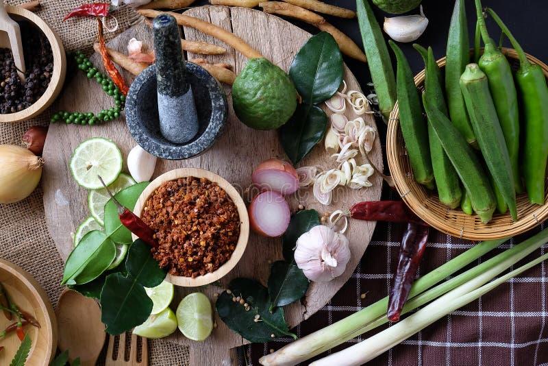 Variedade do alimento tailandês que cozinha ingredientes Tempera ingredientes imagem de stock royalty free