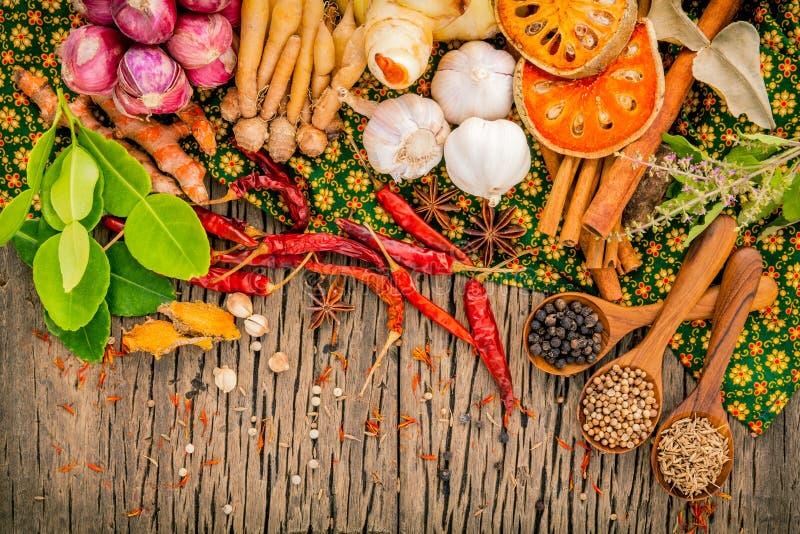 A variedade do alimento tailandês que cozinha ingredientes tempera o gosto, saúde foto de stock royalty free