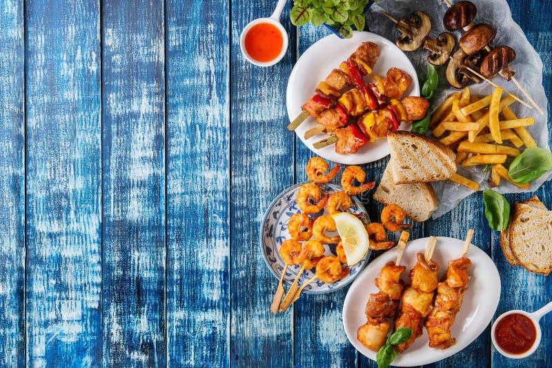 Variedade do almoço do BBQ fotos de stock