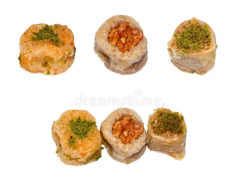 Variedade do baklava de três tipos foto de stock