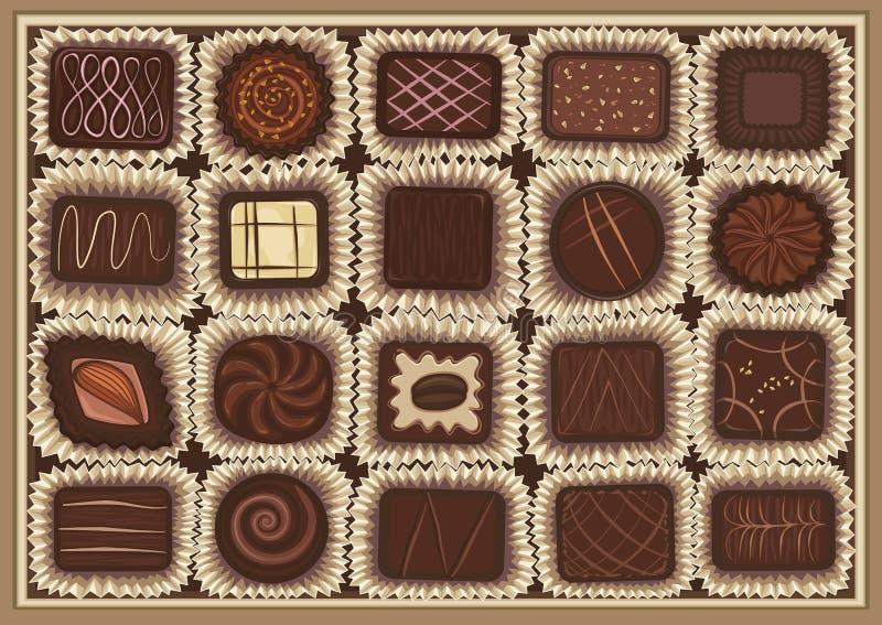 Variedade do chocolate ilustração royalty free