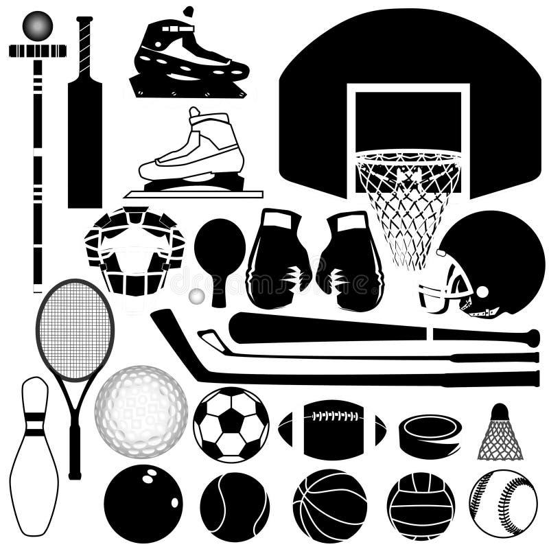 Variedade do equipamento de esportes ilustração royalty free