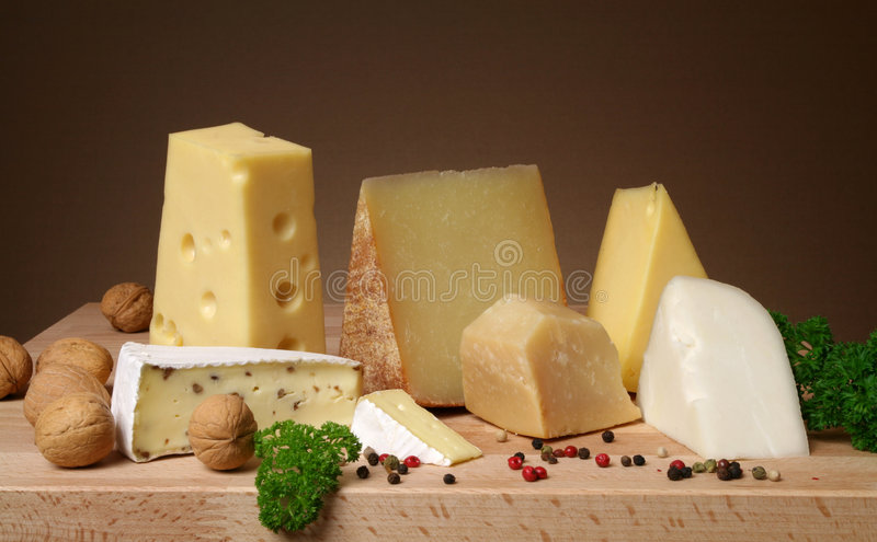 Variedade do queijo fotografia de stock