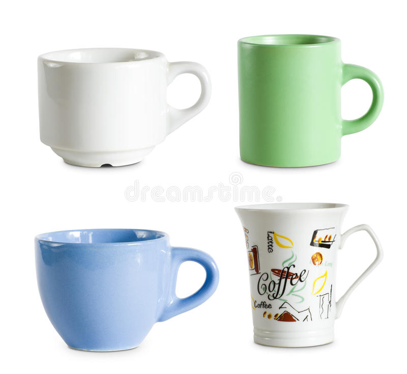 Variedade dos copos de café isolados no branco. imagens de stock royalty free