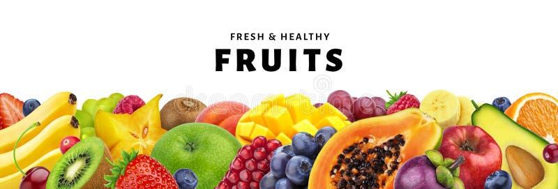 Variedade dos frutos exóticos isolados no fundo branco com espaço da cópia, de frutos frescos e saudáveis e de close-up das bagas fotografia de stock royalty free