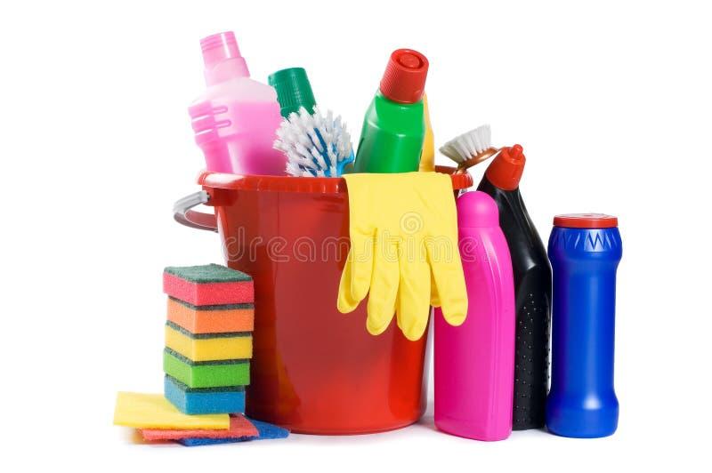 Variedade dos meios para a limpeza foto de stock