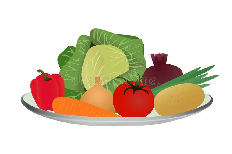 Variedade dos vegetais em uma placa, ilustração do vetor ilustração stock