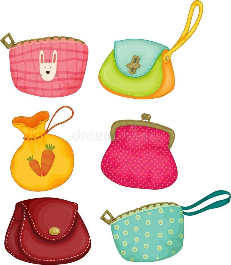 Variedades de sacos de mão ilustração do vetor
