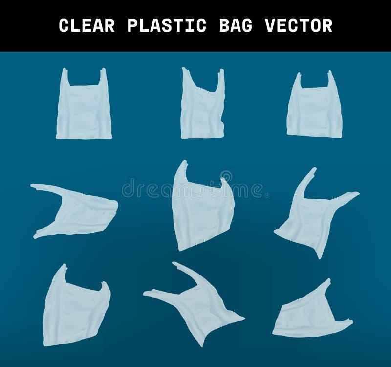 Varieert vorm van een realrestic duidelijke plastic zakvector, elementenontwerp dat het effect van milieuhuisvuil toe te schrijve royalty-vrije illustratie