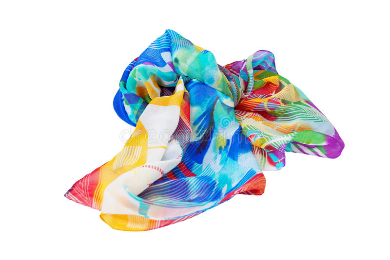 Variegated scarf. Isolated on a white background stock photos