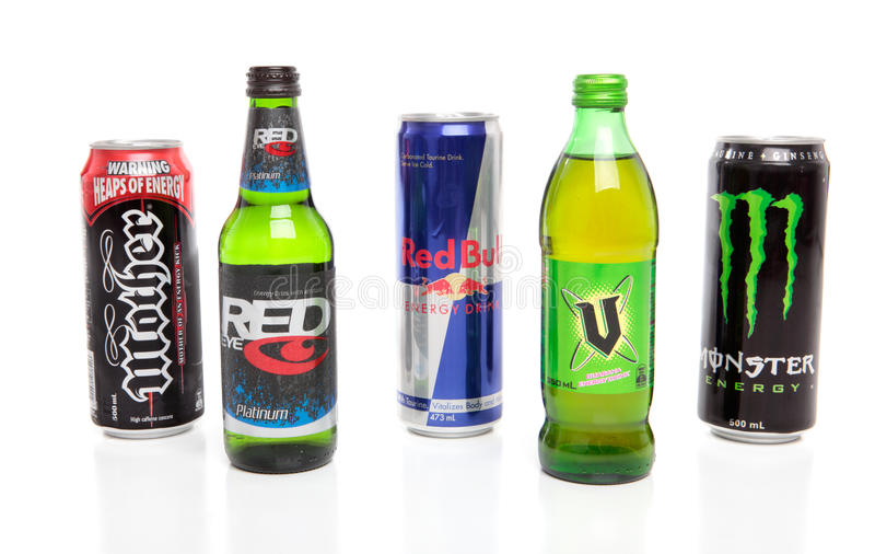 Varietà di bevande di energia fotografie stock