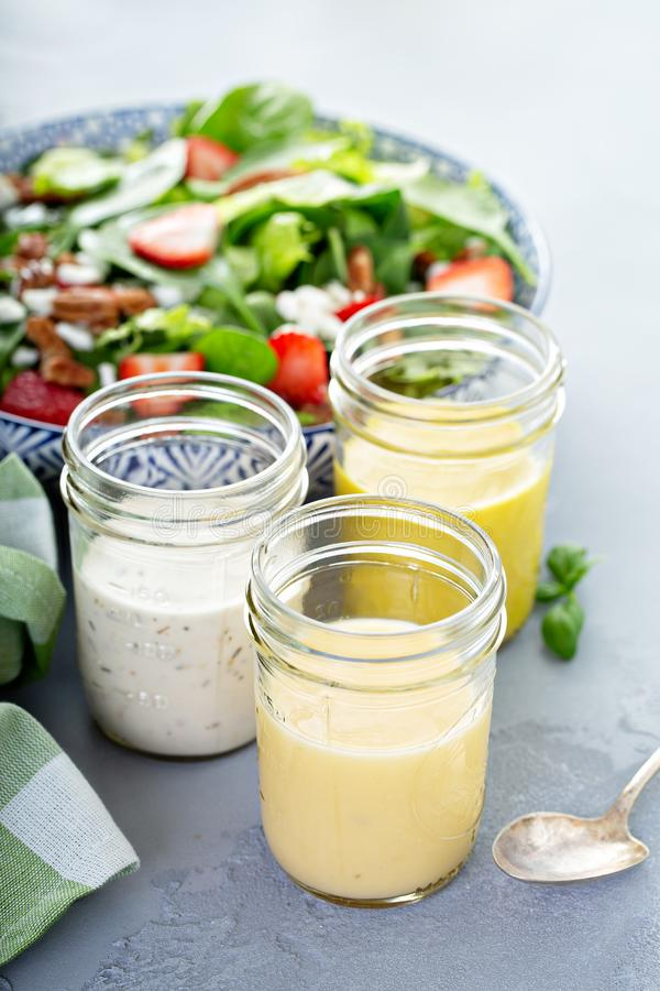 Varietà di condimenti dell'insalata in barattoli di vetro fotografia stock libera da diritti