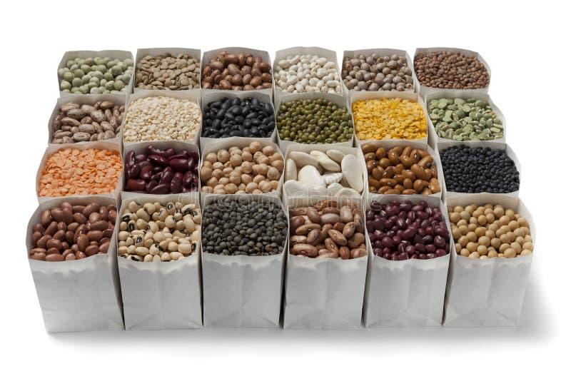 Varietà di fagioli secci e di lenticchie fotografia stock libera da diritti