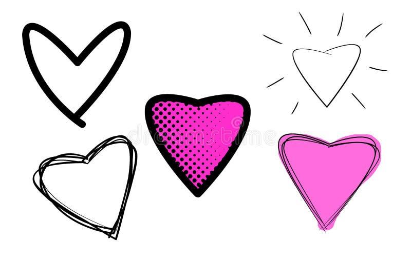 Varietà di illustrazioni dei cuori di amore illustrazione vettoriale