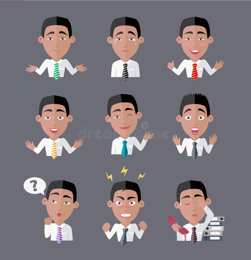 Varietà di impiegato di concetto di emozioni illustrazione di stock