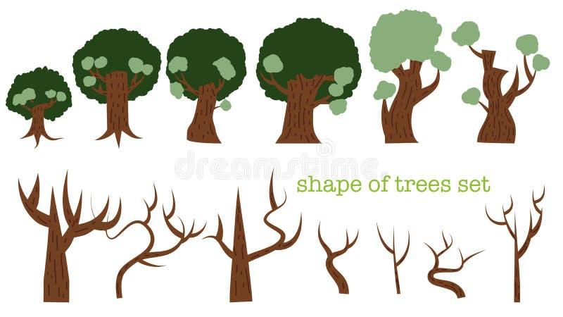 Varietà di insieme di forma degli alberi fotografie stock