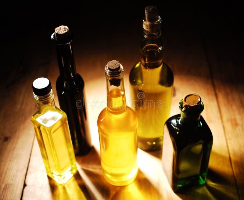 Varietà di oli da cucina fotografie stock