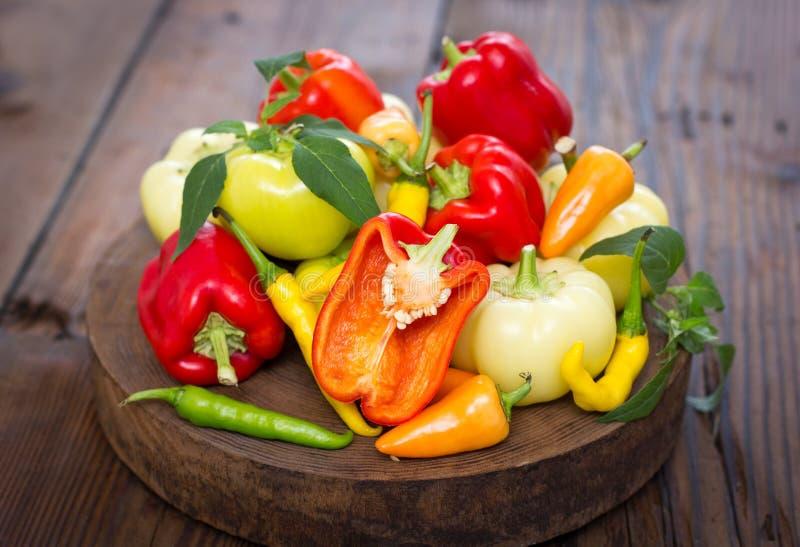 Varietà di peperoni organici freschi fotografia stock libera da diritti
