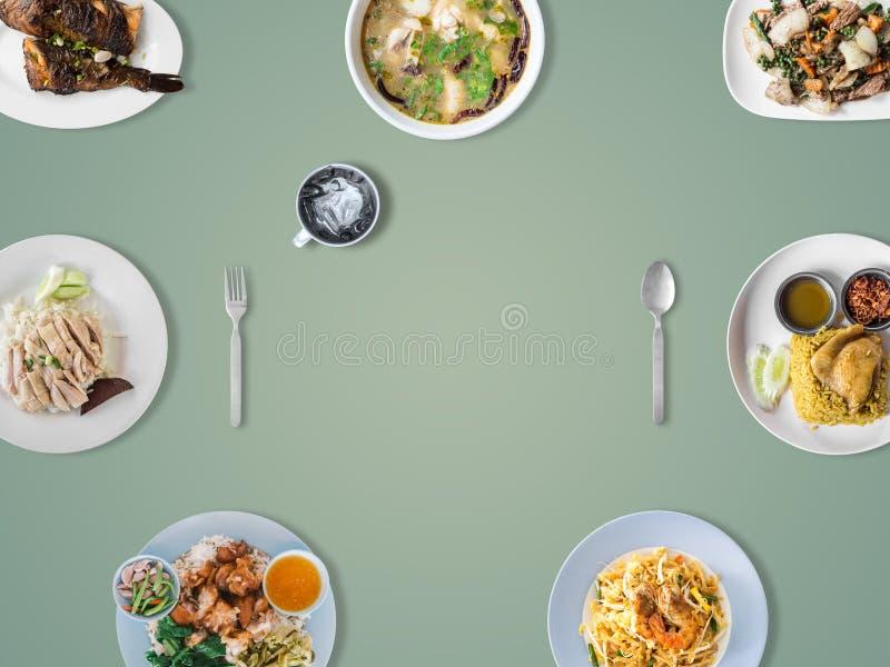 Varietà di piatti tailandesi di tradizione fotografia stock