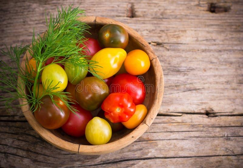Varietà di pomodori ciliegia freschi fotografia stock