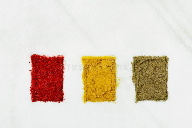 Varietà di spezie a terra differenti in curcuma della paprica dei peperoni della polvere presentata in scatole del campione di co fotografia stock libera da diritti
