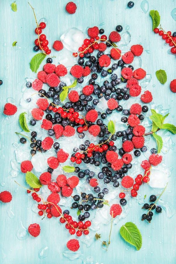 Varietà fresca della bacca del giardino di estate Ribes nero e di Rasberry, bilberrry, menta su ghiaccio tritato sopra fondo blu fotografia stock