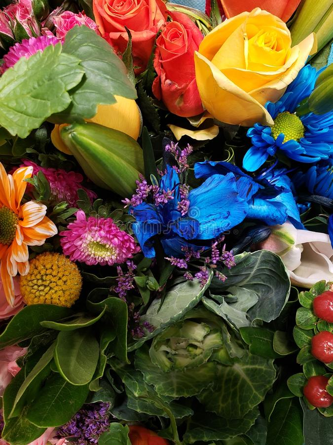 variet? di fiore in un mazzo floreale per il regalo di amore, di fondo e di struttura fotografia stock libera da diritti