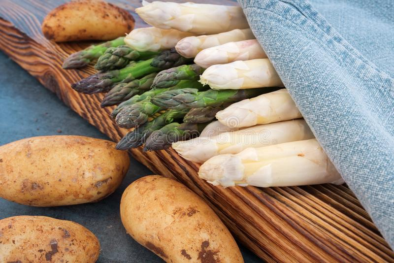 Varieties of asparagus with potatoes royalty free stock photos