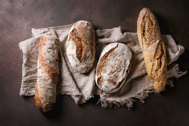 Variety of Artisan bread stock photos