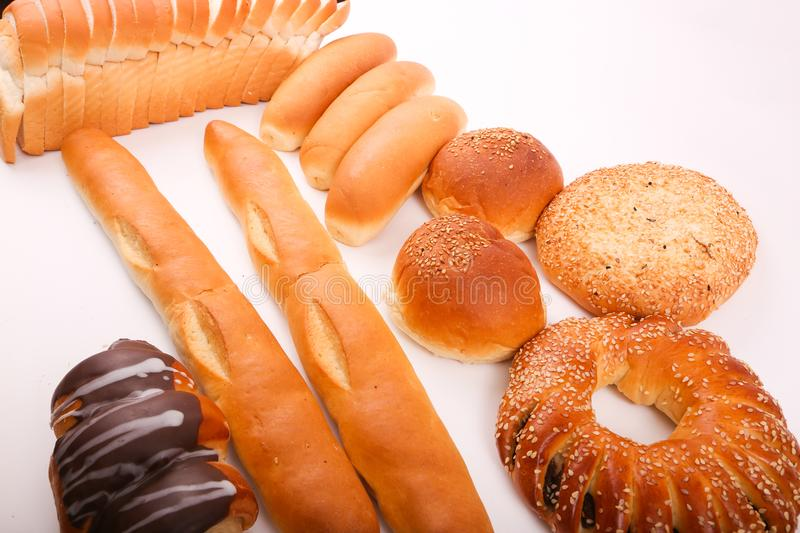 Bakeries product. Variety of bakeries product on white background royalty free stock photography