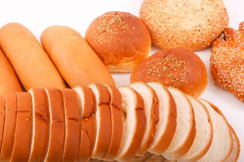 Bakeries product. Variety of bakeries product on white background stock image