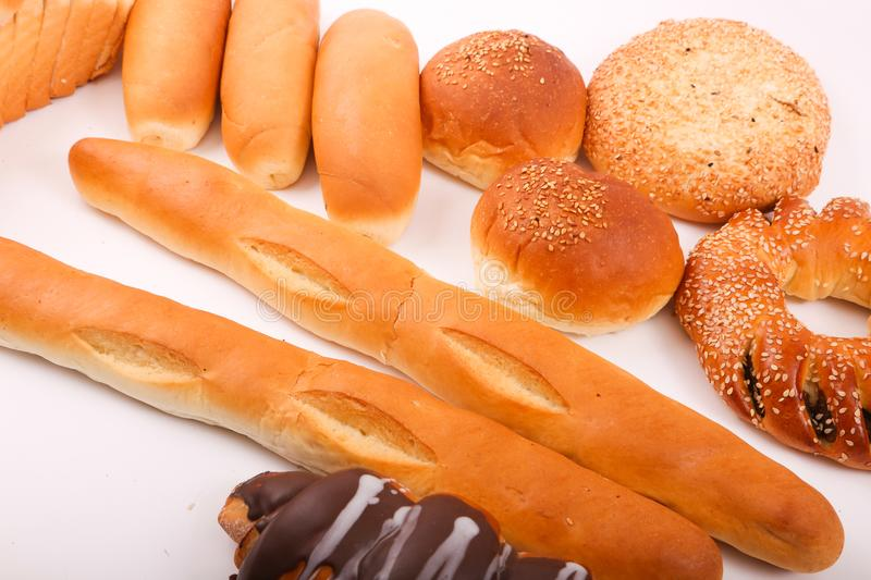 Bakeries product. Variety of bakeries product on white background royalty free stock images