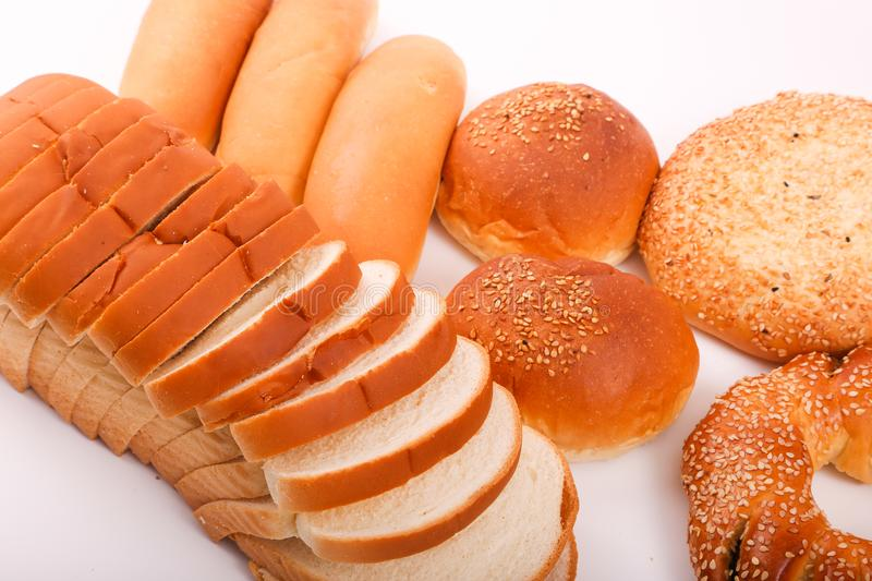 Bakeries product. Variety of bakeries product on white background stock photos